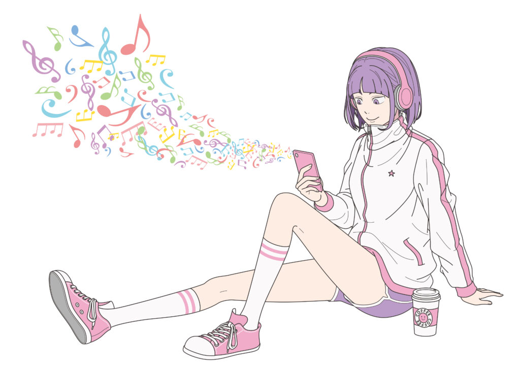 音楽を聴く少女